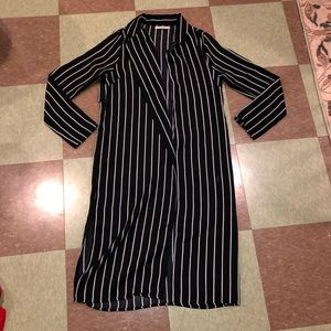 Anthro striped duster trench sm pinstriped